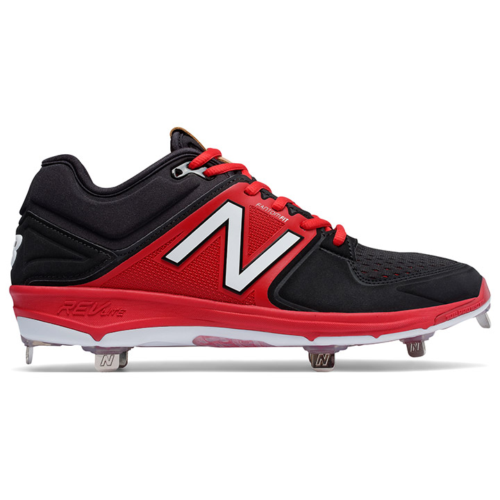 New Balance 3000v3 Low-Cut Metal Men s Baseball Cleats - Black   Red ... 6dca693b78d