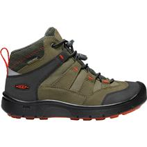 Keen Hikeport Youth Mid Waterproof Hiking Shoes - Martini Olive/Pureed Pumpkin
