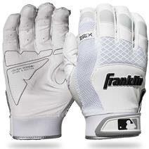 Franklin Shok-Sorb X Youth Baseball Batting Gloves - Pearl/White