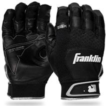 Franklin Shok-Sorb X Youth Baseball Batting Gloves - Black/Black